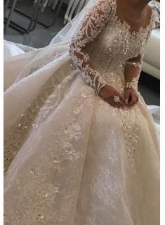 Modern Brautkleider mit Ärmel | Spitze Hochzeitskleider Prinzessin_Brautkleider Mit Ärmel_Brautkleider_Brautkleider,Abiballkleider,Abendkleider