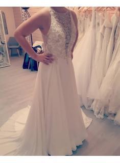 Schlichte Brautkleider mit Spitze | Hochzeitskleider A Linie Chiffon_A-Linie Brautkleider_Brautkleider_Brautkleider,Abiballkleider,Abendkleider