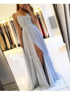 Sexy Silber Abendkleider Lang Chiffon | Abendkleid Mit Spitze Online_Abendkleider_Kleider für Besondere Anlässe_Brautkleider,Abiballkleider,Abendkleider